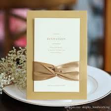 wooden wedding invitations 2017 classic bow ribbon wedding invitations blank inner sheet