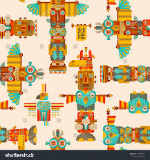multicolored totem poles seamless background pattern stock vector