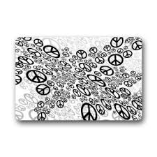 buy abstract black and white trippy peace sign art pattern non