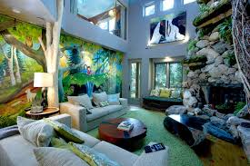 themed living room colorful jungle wall murals in jungle themed living room design