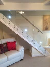 Stainless Steel Handrails Brisbane Side Mounted Glass Staircase Balustrade With Wall Fixed Stainless