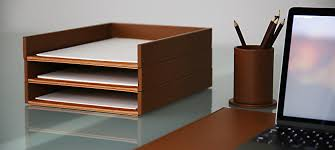 Leather Desk Organizer leather paper trays