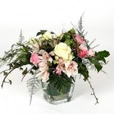 Orchid Flower Arrangements Lovely White Rose And Orchid Flower Arrangement In Glass Cube Vase