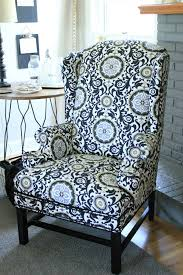 How Much Fabric Do I Need To Reupholster A Chair Reupholstering A Wingback Chair A No Sew Method Noting Grace