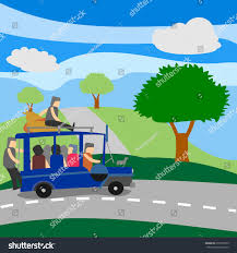 philippine jeep drawing loaded philippine jeep crossing mountains jeepney stock vector