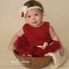 Red baby dress Baby tutu dress Baby girl first Christmas dress