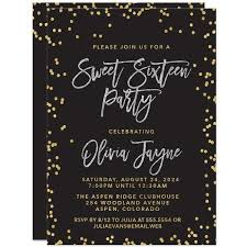 sweet 16 invitations blush gold confetti the spotted olive