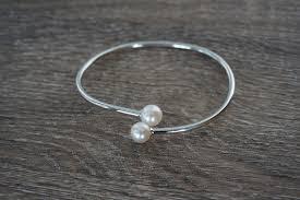 pearl bangle bracelet images Sterling silver pearl bangle bracelet pearls4girls JPG