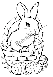 easter bunny baskets free printable easter bunny in basket coloring page