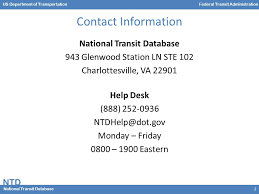 Va National Service Desk by Ntd National Transit Database Us Department Of