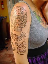 sugar skull half sleeve by justinmurphytattoos on deviantart