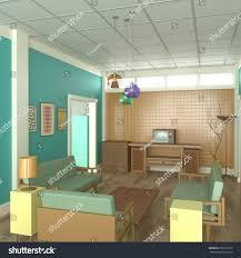 retro living room interior design 3d stock illustration 367501616