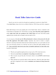 Bank Teller Course Online Bank Teller Interview Guide Résumé Job Interview