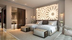 bedroom large lamp wall two bed thick comforter modern benches
