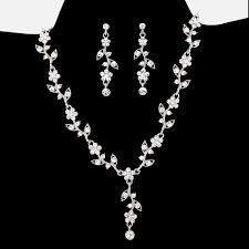 crystal wedding necklace images Bride 39 s jewelry sets flower vine vintage crystal wedding jewelry set jpg