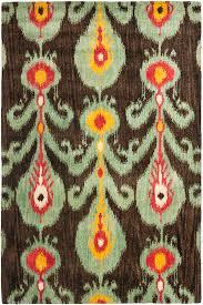 Ikat Outdoor Rug Floors U0026 Rugs Oriental Brown And Green Ikat Rug For Vintage