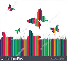 butterflies and colorful grass background