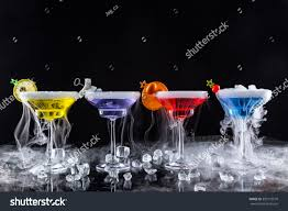 dry vermouth color martini drinks dry ice smoke effect stock photo 309173510