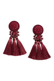 hm earrings earrings with tassels burgundy h m ca