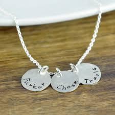 necklace with kids initials custom initials necklace dainty custom sted disc
