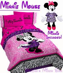 Girls Zebra Bedding by Disney Minnie Mouse Diva Pink Jungle Zebra Twin Full Size