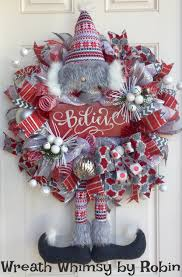 winter deco mesh bearded elf wreath with believe sign in red