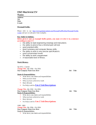 blank cnc machinist resume template