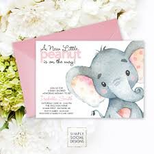 pink elephant baby shower invitation it u0027s a watercolor