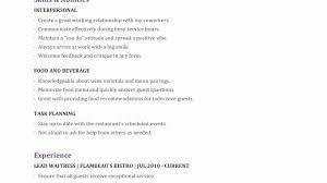 exle of resume template resume template sle waiter waitress luxury resumes of