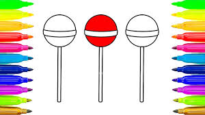 lollipop coloring pages for childrens learn colors for kids with