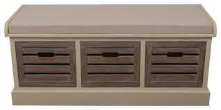 melody three drawer bench with cushion transitional accent and