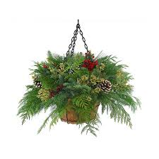 Fresh Cut Christmas Hanging Basket With Pinecones Outdoors