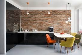 decoration compact brick accent wall with black and white kitchen compact brick accent wall with black and white kitchen unit plus decorative pendant lights above dining