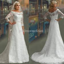 lace 3 4 sleeve wedding dress discount modest 3 4 sleeves white lace a line bridal gown