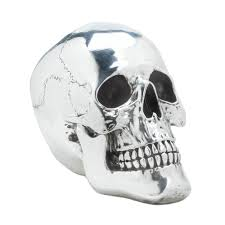 halloween holiday fall smiling silvery skull decoration table