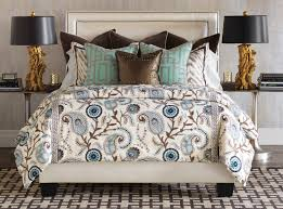 Brown And Blue Bedding by Barclay Butera Interior Design Los Angeles Interior Designer