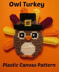 owl plastic canvas pattern thanksgiving pilgrim turkey
