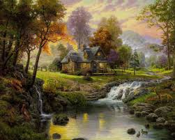 thomas kinkade art oil painting mountain paradise on canvas 100
