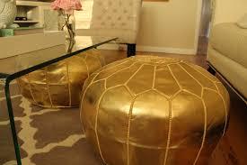 furniture elegant gold moroccan pouf for modern furniture decor