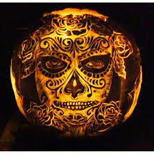 pumpkin carved by m rains for a day of the dead halloween party