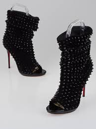 christian louboutin black suede guerilla 120 peep toe booties size