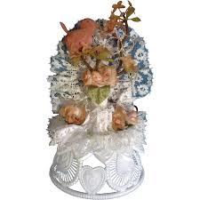 vintage amidan u0027s wedding cake topper bird and gold rings peach