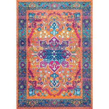Orange And Turquoise Area Rug Orange Area Rugs Rugs The Home Depot