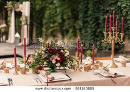wedding table decor wedding table decor flowers plates stock photo 561180685
