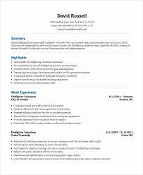 Resume Volunteer Experience Examples by Firefighter Resume Examples Haadyaooverbayresort Com