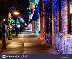christmas lights in michigan christmas lights line the main street in rochester michigan stock
