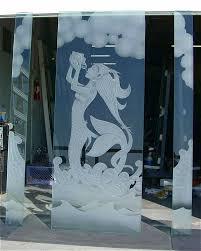 etched glass window beach decor mermaid glass door and windows craved beach coastal mermaid by sans soucie