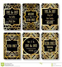 Art Deco Style Set Of Vector Card Templates In Art Deco Style Stock Vector