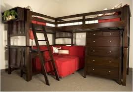 University Loft Mission Merlot Extra Long Triple Lindy Loft - Extra long bunk bed