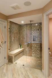 33 best shower ideas images on pinterest tile showers dream shower ideas large tile shower with custom shower seat vertical accent tile strip